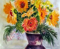 Gerbera in Vase (Aquarell)