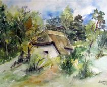 Hiddensee - Bauchhaus in Kloster (Aquarell)