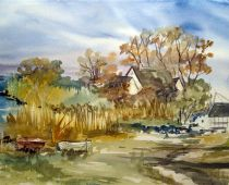 Hiddensee - Hafen (Aquarell)