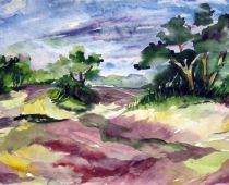 Hiddensee - Heidelandschaft (Aquarell)