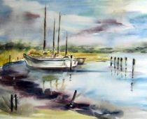 Hiddensee - Kloster Hafen (Aquarell)