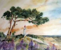 Hiddensee - Leuchtturm (Aquarell)