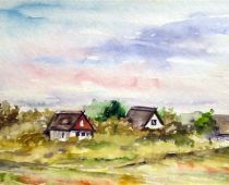 Hiddensee - Neuendorf (Aquarell)