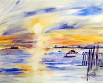 Hiddensee - Sonnenuntergang in Neundorf (Aquarell)