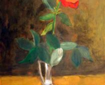 Rose in Vase (Tempera)